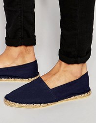 Asos Espadrilles In Navy Canvas Navy