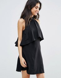 Oh My Love Frill Layer Dress With Bow Neck Detail Black