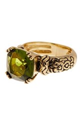 Covet Gold Plated Vintage Stone Ring Green