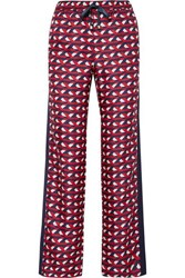 F.R.S For Restless Sleepers Ettore Grosgrain Trimmed Silk Twill Straight Leg Pants Red