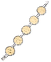 Macy's Two Tone Lire Coin Bracelet In Sterling Silver And 14K Gold Plated Bronze