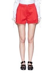 3.1 Phillip Lim Cotton Blend Pleated Shorts Red