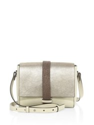 Brunello Cucinelli Monili Trim Metallic Leather Shoulder Bag