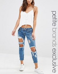 Liquor And Poker Petite Skinny Jeans With Extreme Distressing Ripped Knees Blue