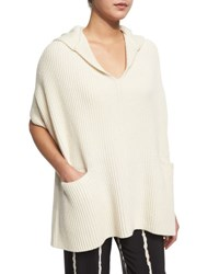 Derek Lam Hooded Ribbed Poncho Cream