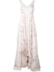 Talbot Runhof Embellished Floral Gown Women Silk Polyamide Acetate Metallized Polyester 38 Nude Neutrals