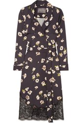 Lela Rose Lace Trimmed Floral Print Crepe Midi Dress Black