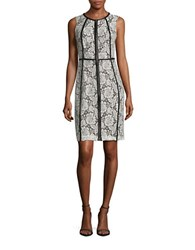 Calvin Klein Lace Topped Sheath Dress Cream Black