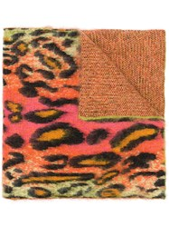 Stella Mccartney Leopard Print Scarf Pink And Purple