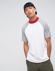 Asos Relaxed Skater Contrast Tee With Turtle Neck White
