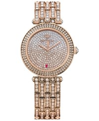 Juicy Couture Women's Cali Crystal Accent Rose Gold Tone Stainless Steel Bracelet Watch 34Mm 1901377