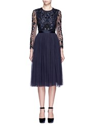 Needle And Thread 'Butterfly' Floral Embellished Tulle Dress Blue