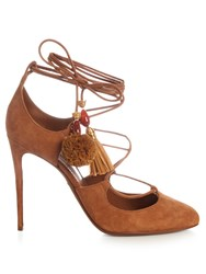 Dolce And Gabbana Pom Pom Tassel Suede Pumps Tan
