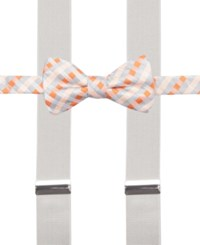 Alfani Spectrum Max Gingham Pre Tied Bow Tie And Suspender Set Only At Macy's Orange