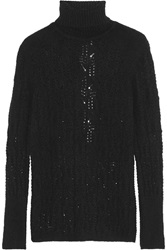 Missoni Cutout Back Cashmere Blend Turtleneck Sweater Black