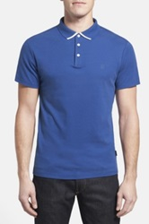 Ag Jeans Green Label 'The Fade' Short Sleeve Cotton Polo Blue