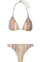 Missoni Mare Metallic Crochet Knit Triangle Bikini Lilac