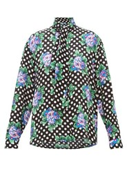 Balenciaga Floral And Polka Dot Print Silk Blouse Black Print