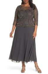 Pisarro Nights Plus Size Illusion Neck Beaded A Line Gown Ash