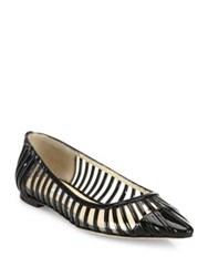 Jimmy Choo Romy Patent Leather And Pvc Flats Black Clear