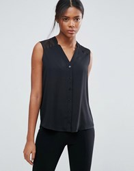Asos Sleeveless Blouse With V Neck And Notches Black