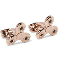 Tateossian Triptych Enamelled Rose Gold Plated Cufflinks Rose Gold