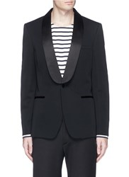 Alexander Mcqueen Silk Satin Shawl Lapel Wool Blazer Black