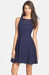 Women's Bb Dakota 'Renley' Lace Fit And Flare Dress True Navy