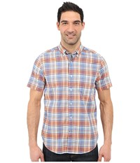 Nautica Short Sleeve Slub Yarn Dyed Plaid Fireside Men's Short Sleeve Button Up Orange