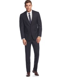 Kenneth Cole Reaction Navy Plaid With Brown Deco Slim Fit Suit