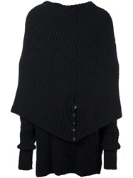 A New Cross Draped Turtle Neck Jumper Black