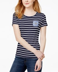 Tommy Hilfiger Cotton Striped T Shirt Only At Macy's Navy Ivory