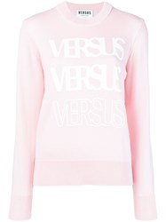 Versus Logo Long Sleeve Sweater Pink And Purple