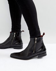 Jeffery West Scarface Brogue Zip Boots In Black Leather Black
