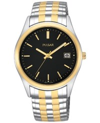Pulsar Men's Two Tone Stainless Steel Stainless Steel Expansion Bracelet Watch 37Mm Pxh428