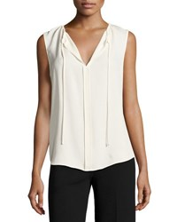 Theory Alamay Classic Georgette Sleeveless Split Neck Top White