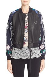 Yigal Azrouel Women's Jacquard And Leather Bomber Jacket