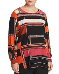 Marina Rinaldi Banjo Geo Print Silk Blouse Orange