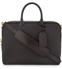 Tom Ford Grained Leather Double Zip Briefcase Brown Gold