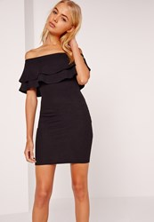 Missguided Layered Frill Bandeau Bodycon Dress Black Black
