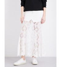 Mcq By Alexander Mcqueen Lace Panel High Rise Skirt Ivory