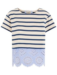 Sea Ivory And Blue Stripe Broderie Hem T Shirt Light Blue