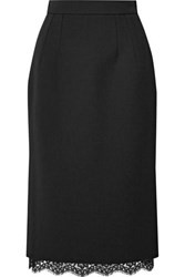 Dolce And Gabbana Lace Trimmed Cady Skirt Black