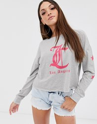 Juicy Couture By Los Angeles Logo Long Sleeved T Grey