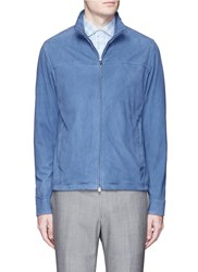 Isaia Packable Hood Lambskin Suede Jacket Blue