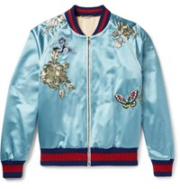 Gucci Appliqued Silk Satin Bomber Jacket Blue