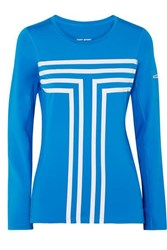 Tory Sport Printed Stretch Jersey And Mesh Top Blue