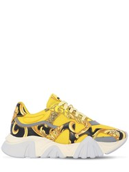 Versace 40Mm Squalo Faux Leather And Mesh Sneakers Yellow