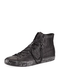 John Varvatos Studded Mid Top Leather Sneakers Black