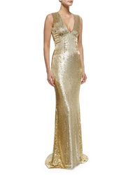 Pamella Roland Sleeveless V Neck Beaded Gown Gold